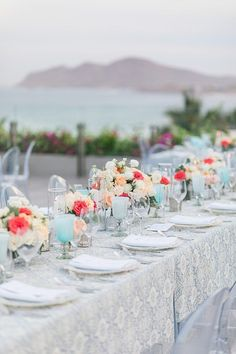 Blue Wedding reception decorations overlooking the ocean long table setup - Photography: JBJ Pictures | Colorful Cabo Destination Wedding - Belle The Magazine Blue Wedding Receptions, Wedding Reception Decorations, Wedding Table, Wedding Day, Table Decorations, Best Bride, Honeymoon Spots, Up To The Sky, Wedding Honeymoons