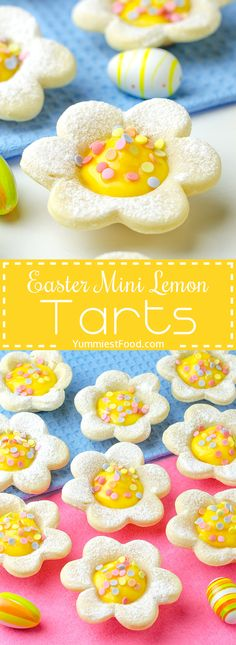 EASY EASTER MINI LEMON TARTS - Simple, quick and easy dessert is perfect idea for Easter, spring and Mother's Day! Potluck Desserts, Mini Desserts, Spring Desserts, Easy Desserts, Meringue Desserts, Dessert Recipes, Dessert Party, Oreo Dessert, Easter Cookies