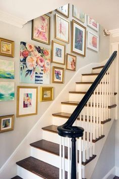 Love the idea of a photo wall going up the stairs of you home! You could do fun, and pretty prints like this or photos of family! Great idea and great way to add some decorations for your home!