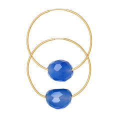 Vermeil Eugenia By TOUS Cercle collection earrings with blue agates. (Vermeil: 18kt gold-plated sterling silver).TOUS WASHINGTON DC