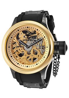Invicta Russian Diver Skeleton Mechanical Gold-Tone Dial Polyurethane Watch - $189.99