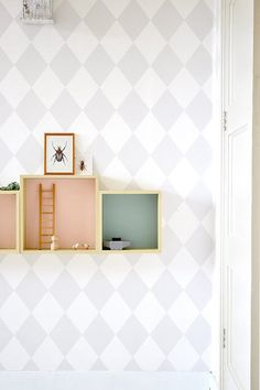 FRIVOLE: ★ Squares, boxes and a touch of pastel Kids Bedroom Boys, Kids Rooms, Pastel Photography, Childrens Room Decor, Contemporary Interior, Soft Colors, Floating Nightstand, House Colors, Interior Architecture