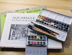 Arche paper and art supplies of transparent watercolor