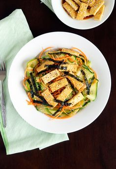 Zucchini noodles with pan-fried tofu