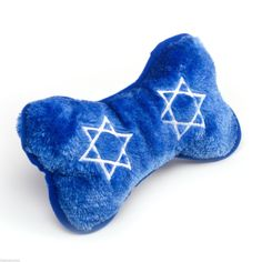 Hanukkah Bone Plush Toy With Squeaker for Dogs Puppy Dog Holiday Fun Blue