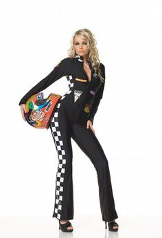 FANCY DRESS RACING DRIVER COSTUME / PIT STOP GIRL OUTFIT / UNIFORM ...