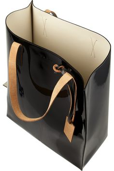 Marni|Two-tone faux patent-leather tote|NET-A-PORTER.COM