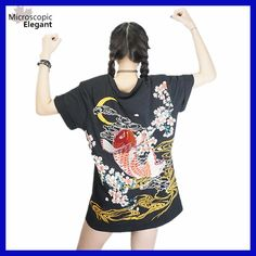 """HOT PRICES FROM ALI - Buy """"punk funk rock t-shirt harajuku 2017 Japan YOKOSUKA embroidery dragon and koi baseball uniform unisex fashion vintage shirt """" from category """"Women's Clothing & Accessories"""" for only USD. Carpe Koi Japonaise, T-shirt Broderie, Harajuku Japan, Moda Vintage, Japanese Embroidery, Long Tee, Rock T Shirts, Kawaii Clothes, Nerd Clothes"""