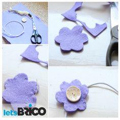 Facilísimas flores de fieltro para decorar tu ropa