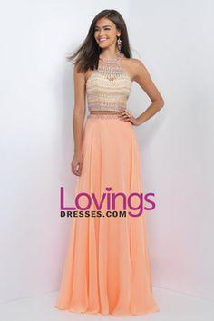 2016 A Line Two Pieces Halter Beaded Bodice Open Back Prom Dresses Chiffon & Tulle US$ 189.99 LDP4RZ93SM - lovingsdresses.com