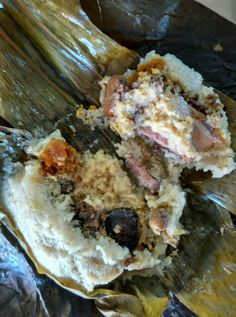 The inside of the giant Chinese rice dumpling: Chicken, pork, chestnut, mushroom, dried scallop, salted egg yolk.