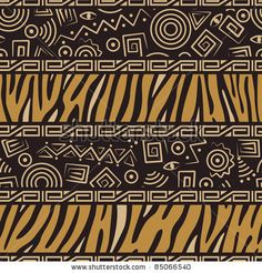 African style seamless pattern with wild animals skins and ancient symbols by Svetlana Ivanova, via ShutterStock
