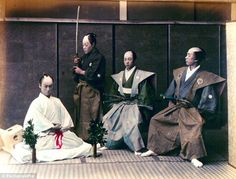 Ritual: A group of samurai pictured taking part in a ceremonial suicide known as harakiri, part of the bushido code which saw warriors disemboweled to fall with honour rather than be defeated by their enemy