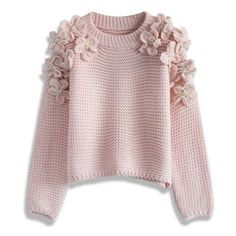 Chicwish My Flowers and Pearls Sweater in Pink ❤ liked on Polyvore featuring tops, sweaters, pink top, pink sweater, flower top, pearl top and pearl sweater