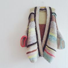 pastel striped hand knit cardi
