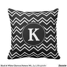Black & White Chevron Pattern Throw Pillow With Monogram zazzle #monogram #pillows #homedecor #chevron