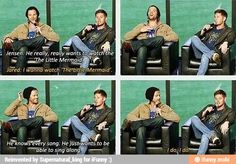 """(gif set) Jared Padalecki and Jensen Ackles at SDCC 2013 """"I wanna watch 'The Little Mermaid'. Jared And Jensen, Jensen Ackles, Supernatural Funny, Jared Padalecki, Destiel, Big Bang Theory, Superwholock, The Little Mermaid, Nerdy"""