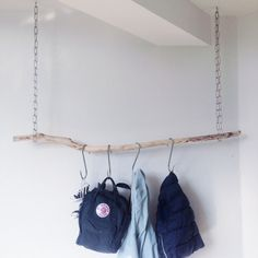 DIY from my sons room. A perfect way to hang his bagpacks, jackets and other stof :)