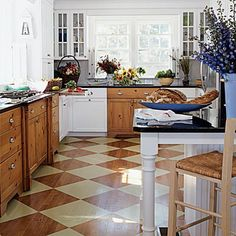 Love the diamond pattern on the floor!  Painted wood floor - beautiful! :)