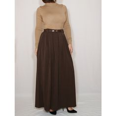 Brown Wool Skirt Women Long Skirt High Waisted Maxi Skirt With Pockets (3.125 RUB) ❤ liked on Polyvore featuring skirts, dark olive, women's clothing, high-waisted maxi skirt, high waisted skirts, high waisted long skirt, knee length skirts and brown maxi skirt