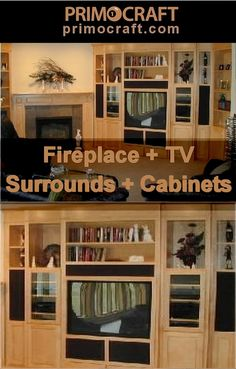 Handcrafted quality home entertainment furniture is our specialty! Choose any configuration or layout for your theater, media center, fireplace surround and bookcase cabinets. Create space to contain all your AV equipment, game consoles, CRT, LCD, Projection, Plasma Flat panel TV equipment. We design anything you can dream up to add atmosphere primocraft.com #fireplace #cabinet #lounge #interior #interiors #interiordesign #customdesign #bespoke #design #wood #wooden #handmade #craft Tv Fireplace, Custom Fireplace, Fireplace Surrounds, Bespoke Design, Custom Design, Entertainment Center Wall Unit, Home Entertainment Furniture, Flat Panel Tv, Can Design