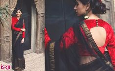 Black and gold saree with blouse. Sari blouse design. Full length blouse. Indian fashion.