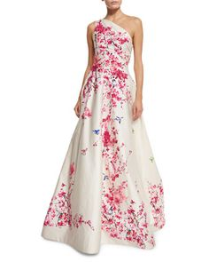 Cherry+Blossom+One-Shoulder+Ball+Gown,+Cream/Multi+by+Monique+Lhuillier+at+Neiman+Marcus.