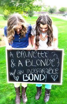 Adorable bestie photo Blonde & Brunette friends