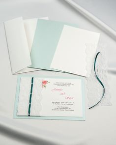 Fuchsia pink shimmer threaded real lace invitation kit perfect for aqua shimmer threaded real lace diy invitation kit with emerald ribbon and white card stock stopboris Image collections