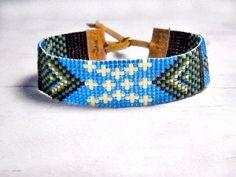 Bohemian Bead Bracelet - Seed Bead Bracelet - Adjustable Bead Bracelet - Starry Night Loom Bracelet - Gifts For Her - Chic Bracelet Bohemian Style Jewelry, Bohemian Bracelets, Fashion Bracelets, Fashion Jewelry, Boho Chic, Bead Loom Bracelets, Loom Beading, Bead Weaving, Earrings Handmade