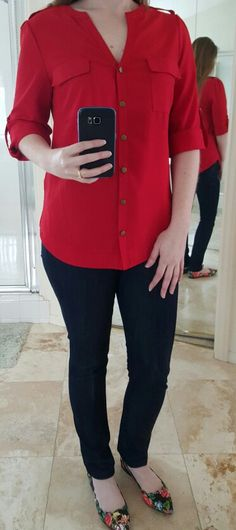 March 2016 stitch fix. 41Hawthorn Tameron Button Down Blouse in red ($58 returned) and MIA Amari Floral Scallop Flats ($49 returned). So I actually like this look in the pic, but the red is a little too fiery for my complexion and I don't know what I would wear these shoes with if I didn't have this top. :)