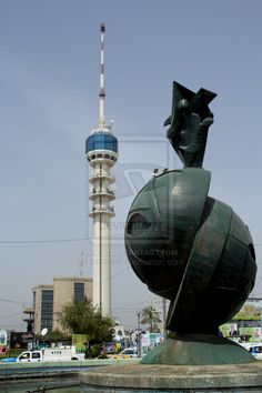 Baghdad, Iraq – April 6 Baghdad tower is the long tower in Baghdad , previously called International Saddam Tower, it have tall a 205 m, ope. Communication Tower, Baghdad Iraq, Islamic Art Calligraphy, Famous Art, East Africa, Capital City, World Cultures, Wonders Of The World, Beautiful Places