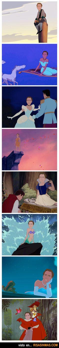 Nicolas Cage como princesas de Disney.