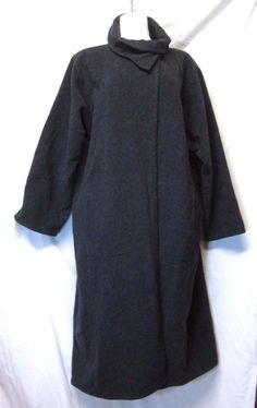 EILEEN FISHER Dark Gray Wool COAT wrap neck unstructured/loose fit EXC cond sz L #EileenFisher #UnstructuredCoat