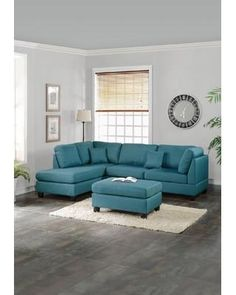 Infini Furnishings Furnishings Reversible Chaise Sectional INF760JBW Upholstery: Teal Blue from Wayfair | BHG.com Shop