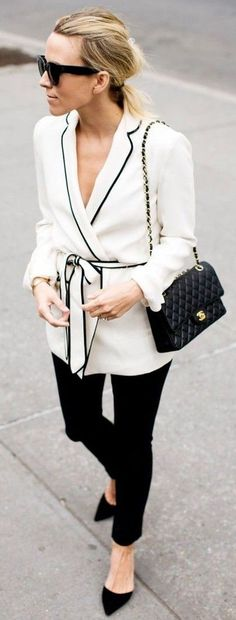 Black And White Pajama Jacket, Black Handbag Skinnies and Pumps | Damsel In Dior