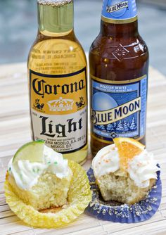 Blue Moon & Corona Cupcakes:  For the beer cupcakes: 3/4 C unsalted butter; 1-3/4 C sugar; 2-1/2 C flour; 2 tsp baking powder; 1/2 tsp salt; 3 eggs, room temp; 1 tsp vanilla; 1/2 tsp orange or lime zest; 1 C Blue Moon or Corona beer, plus more for brushing on tops; 1/4 C milk & orange/lime wedges and sanding sugar for garnish.