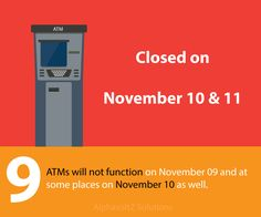 ATMs will not function on November 09 and at some places on November 10 as well.