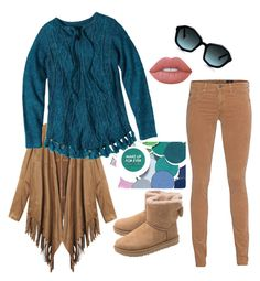 """""""Teal Time"""" by templefidelis on Polyvore featuring MAKE UP FOR EVER, prAna, Lime Crime, UGG and AG Adriano Goldschmied"""