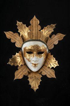 Venetian Mask  Golden Leaves