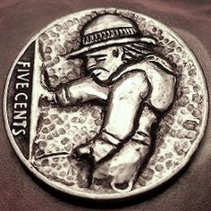 Eric Truitt - Whizzy Guy Hobo Nickel, Coin Art, Buffalo, Coins, Guy, Carving, Wood, Rooms, Woodwind Instrument