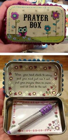 Prayer Box - These could be made for so many occasions and older kids would have fun making them. It would be cool for VBS where they exchange them with one another and each one could write a prayer for the person they're giving it too and put it inside. I just think this is just so sweet!