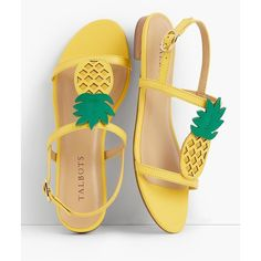 Talbots Women's Keri Pineapple T Strap Sandals (€67) ❤ liked on Polyvore featuring shoes, sandals, bright yellow, talbots sandals, flexible shoes, synthetic shoes, t bar sandals and pineapple print shoes