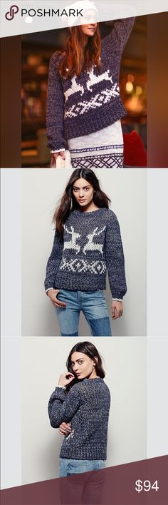 Free People Reindeer Chunky Knit Sweater d e s c r i p t i o n  'Tis the season! Get in the spirit with this chunky knit pullover sweater featuring a reindeer design. Rounded neck. Incredibly soft! NO TRADES.   c o n t e n t  56% acrylic | 35% wool | 9% cotton   m e a s u r e m e n t s ✂️  size + m | bust + 18"