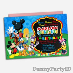 Mickey Mouse Clubhouse Invitation, Mickey Mouse Birthday, Mickey Mouse  Clubhouse Party, Mickey Mouse, Clubhouse Birthday, Mickey Birthday |  Pinterest ...