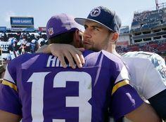 Shaun Hill (13) got a hug from Matt Cassel at the end of the game. ] CARLOS…