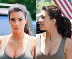 Kim Kardashian%u2019s Fun, Bouncy Ponytail & Hot Cleavage In�Hamptons