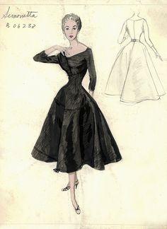 40 Trendy Fashion Design Sketches Back Bergdorf Goodman 1950s Fashion, Blue Fashion, Trendy Fashion, Vintage Fashion, Fashion Goth, Victorian Fashion, Ladies Fashion, Fashion Illustration Vintage, Illustration Mode
