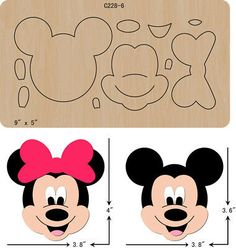 New Mickey,Wooden Die , Cutting Dies , Scrapbooking Minnie Mouse Cake, Mickey Mouse Birthday, Felt Patterns, Craft Patterns, Canvas Patterns, Felt Crafts, Paper Crafts, Monster High Dolls, Disney Crafts
