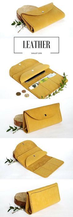 8a24592511ddc Handmade wallet Leather purse Card holders wallet Coin pocket wallet  Colorful wallet Leather card wallet for women Yellow wallet credit card